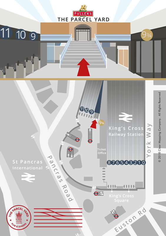 Map of Parcel Yard's location inside King's Cross Station